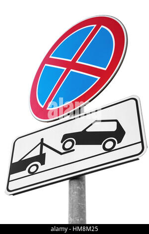 Standing is prohibited, Evacuation on tow truck. Road signs isolated on white background - Stock Photo