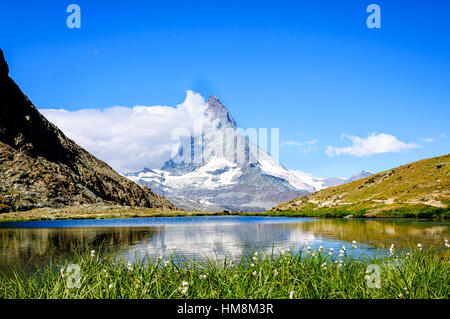This is a Riffelsee Lake in Zermatt,Switzerland. You can walk 10 mins from train station. - Stock Photo