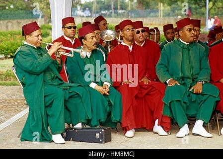 brass instruments orchestra playing at Royal Palace square, Rabat, Morocco, North Africa. - Stock Photo