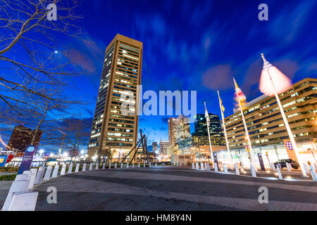 Long Exposure of the Inner Harbor at Night in Baltimore, Maryland - Stock Photo