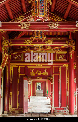 Wooden covered walkways in the Hue Imperial City (Citadel), Vietnam, Indochina, Southeast Asia - Stock Photo