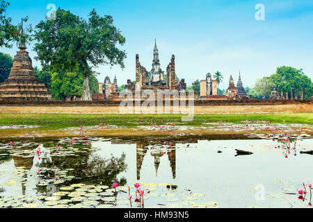 Wat Mahathat in the Sukhothai Historical Park, Thailand, Southeast Asia - Stock Photo