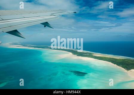 Aerial of Tarawa, Kiribati, South Pacific, Pacific - Stock Photo