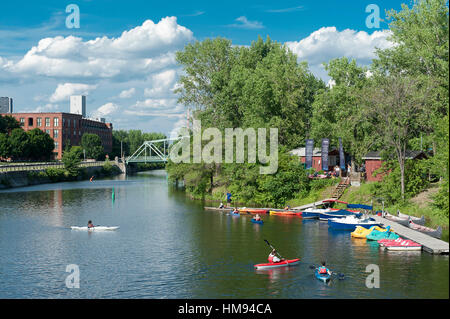 Canada, Province of Quebec. Montreal. Districts of southwest. The Lachine canal site - Stock Photo
