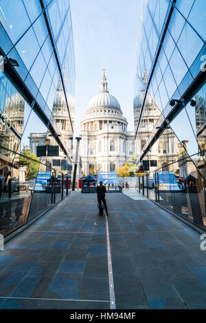 St. Paul's Cathedral from One New Change, City of London, London, England, United Kingdom - Stock Photo