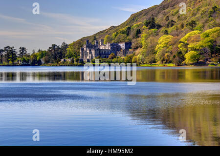 Kylemore Abbey, Connemara, County Galway, Connacht, Republic of Ireland - Stock Photo