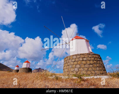 Traditional windmills of Porto Santo Island located on the way from Casinhas to Serra de Fora, Madeira Islands, - Stock Photo