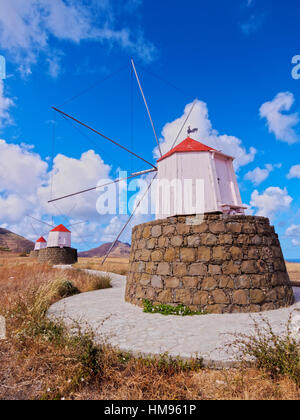 Traditional windmills of Porto Santo Island located on the way from Casinhas to Serra de Fora, Porto Santo, Portugal - Stock Photo