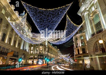 Regent Street Christmas lights in 2016, London, England, United Kingdom - Stock Photo