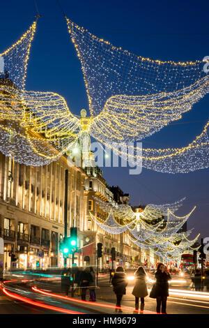 Christmas lights 2016, Regent Street, London, England, United Kingdom - Stock Photo