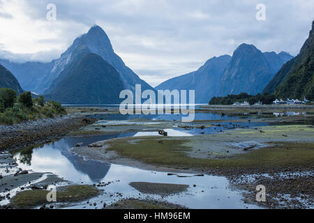 View of Milford Sound at low tide, Mitre Peak reflected in pool, Milford Sound, Fiordland National Park, Southland, - Stock Photo