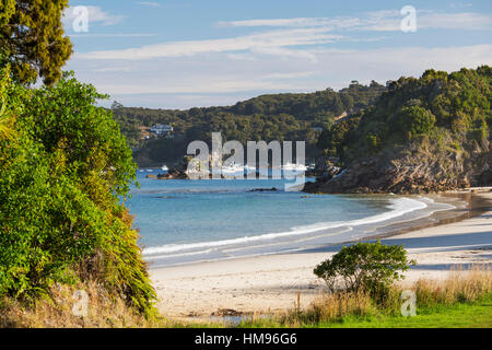 View over Butterfield Beach, Halfmoon Bay, Oban, Stewart Island, Southland, South Island, New Zealand, Pacific - Stock Photo