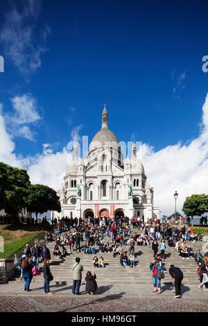Sacre Coeur Basilica, Montmartre, Paris, France - Stock Photo