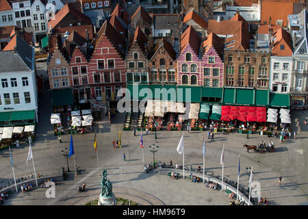 Markt Square seen from the top of Belfry Tower(Belfort Tower), Bruges, West Flanders, Belgium - Stock Photo