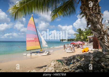 Beach, Holetown, St. James, Barbados, West Indies, Caribbean, Central America - Stock Photo