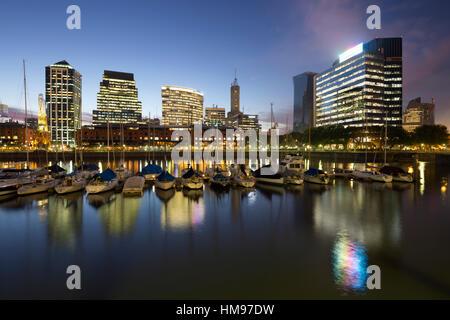 City skyline from marina of Puerto Madero at night, San Telmo, Buenos Aires, Argentina, South America - Stock Photo