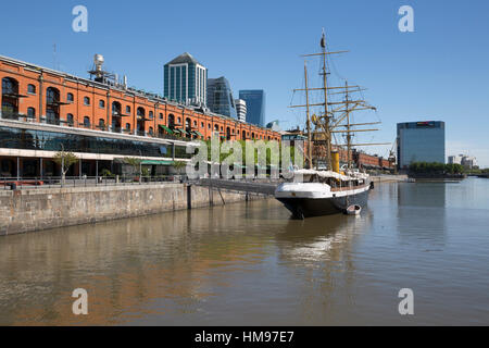 Old warehouses and office buildings from marina of Puerto Madero, San Telmo, Buenos Aires, Argentina, South America - Stock Photo
