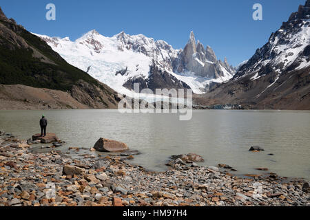 Laguna Torre with view of Cerro Torre and Glaciar Grande, El Chalten, Patagonia, Argentina, South America - Stock Photo