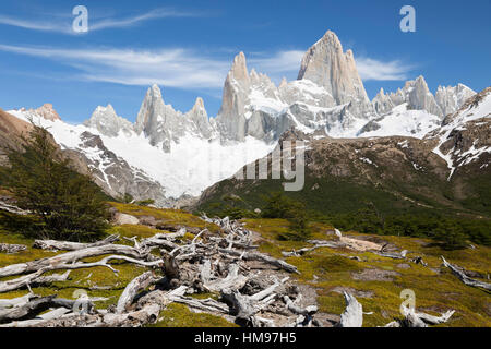 View of Mount Fitz Roy on Laguna de Los Tres trail, El Chalten, Patagonia, Argentina, South America - Stock Photo