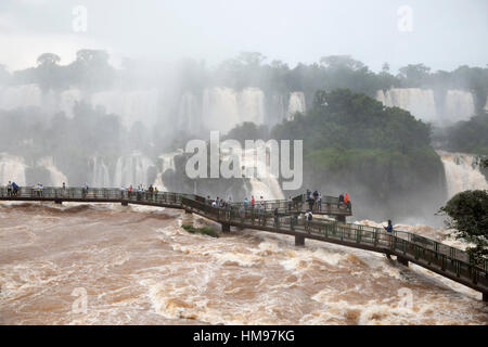 Iguazu Falls from Brazilian side, Iguazu National Park, Brazil, South America - Stock Photo