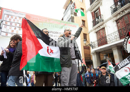 Atmosphere at the rally in favor of Sahrawi political prisoners held in Moroccan prisons in Madrid on Saturday 16 - Stock Photo