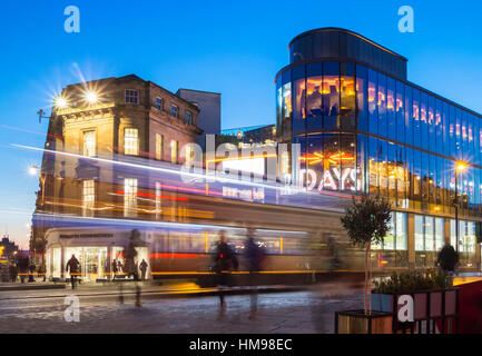 Entrance to Eldon Square shopping mall from The Monument, Newcastle upon Tyne, England. UK - Stock Photo