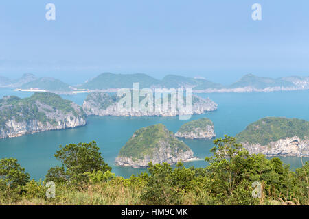A view of the spectacular limestone karst formations in Lan Ha Bay, Halong Bay, Vietnam - Stock Photo