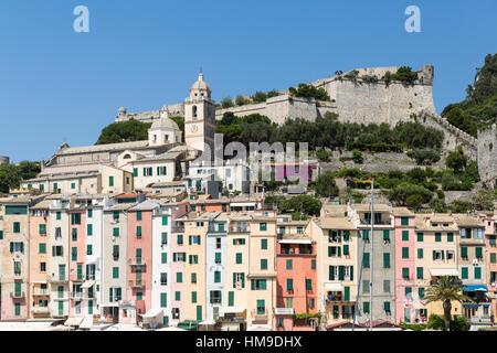 Portovenere in the Ligurian region of Italy near the Cinque Terre - Stock Photo