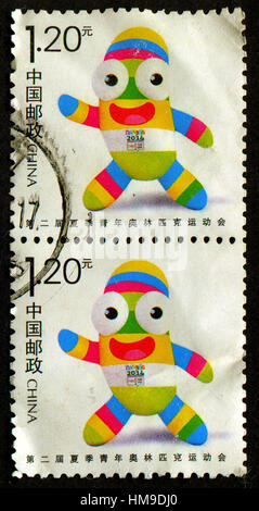GOMEL, BELARUS, 1 FEBRUARY 2017, Stamp printed in China shows image of the 2TH YOUTH OLYMPIC GAME GREETING STAMP, - Stock Photo