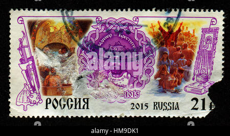 Stamp printed in Russia shows image of the Vladimir Sviatoslavich the Great was a prince of Novgorod, grand prince - Stock Photo