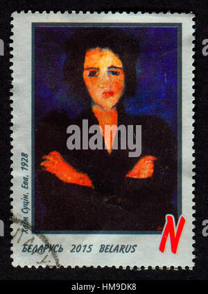 Stamp printed in Belarus shows image of portrait EVA, Chaim Soutine (13 January 1893 - 9 August 1943). - Stock Photo