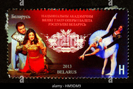 Stamp printed in Belarus shows image of The National Academic Grand Opera and Ballet Theatre of the Republic of - Stock Photo