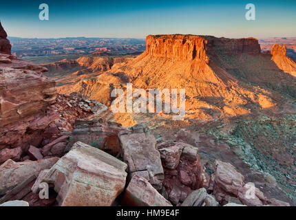 Buttes in White Rim Road area, at sunrise from Grand View Trail, Island In The Sky District, Canyonlands National - Stock Photo