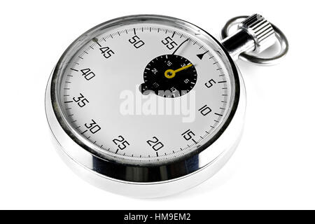 analogue stopwatch isolated white background - Stock Photo