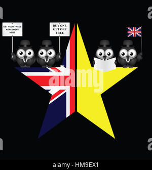 Comical UK and EU split star representing the United Kingdom exit from the European Union - Stock Photo