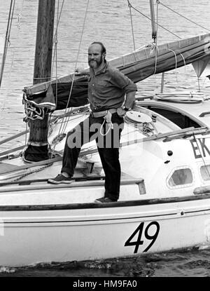 AJAXNETPHOTO. 6TH JUNE, 1976. PLYMOUTH, ENGLAND. - OSTAR 1976 - JOHN CHRISTIAN SKIPPER OF 27FT JUNK RIGGED EK SOEKI; - Stock Photo