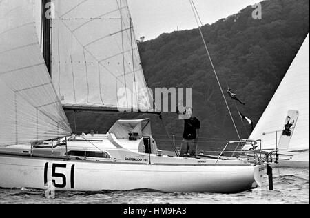 AJAXNETPHOTO. 6TH JUNE, 1976. PLYMOUTH, ENGLAND. - OSTAR 1976 - GILLYGALOO SKIPPERED BY ANDREW BRAY (GBR) AT RACE - Stock Photo