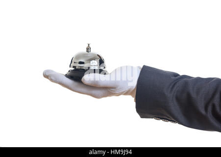 Butler service bell on white background - Stock Photo