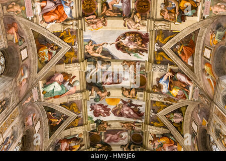 VATICAN CITY, VATICAN, JUNE 15, 2015 : interiors and architectural details of the Sistine chapel, june 15, 2015, - Stock Photo