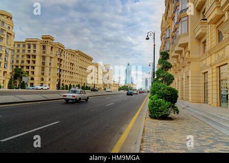 Baku, Azerbaijan - September 10, 2016: View of Geydar Aliyev Avenue. Baku is the largest city on the Caspian Sea - Stock Photo