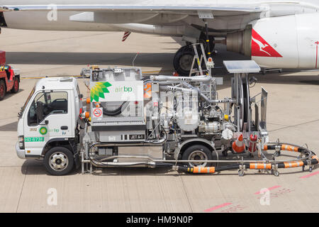 Close-up of fuel truck at Brisbane Airport - Stock Photo