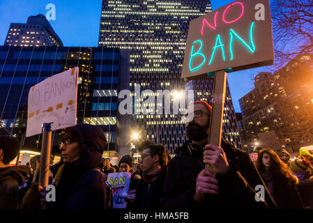 New York City, USA. February 1st, 2017 No Ban No Wall March for Muslims and Allies. Muslims and immigration advocates - Stock Photo