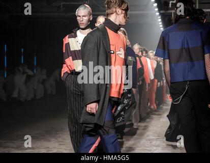 New York, USA. 1st February 2017. Models walk runway for Rochambeau FW17 runway show during NY Fashion Week: Men's - Stock Photo