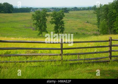 East Cemetery Hill fence, Gettysburg National Military Park, Pennsylvania. - Stock Photo
