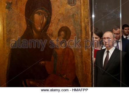 Russian President Vladimir Putin visits the Byzantine and Christian museum in Athens, Friday, May 27, 2016. Russian - Stock Photo