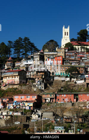 View on the Shimla, Indian rest city, in Himalaya mountains. - Stock Photo