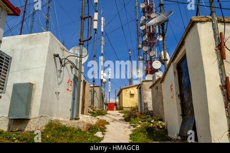 Telecommunication antennas on the mountain in Corfu Greece Europe. - Stock Photo