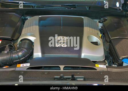 KIEV, UKRAINE - MAY 29: Engine V6 closeup of new Korean car model KIA Pro_Cee'd at SIA' 2013 The 21st Kyiv International - Stock Photo