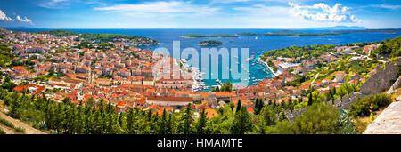 Island of Hvar bay aerial panoramic view, Dalmatia, Croatia - Stock Photo