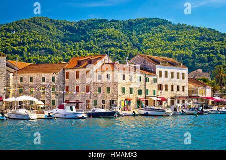 Stari Grad waterfront view, island of Hvar, Croatia - Stock Photo